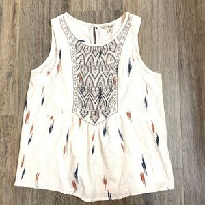 Lucky Brand Embroidered Print Tank Top XS NWT